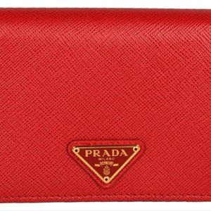 New Prada Red Saffiano Leather Small Bifold Wallet